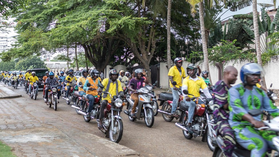 Motorbike taxi drivers in Cotonou - 19 April 2019