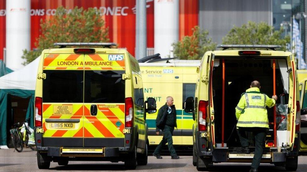 Ambulances at London Nightingale hospital