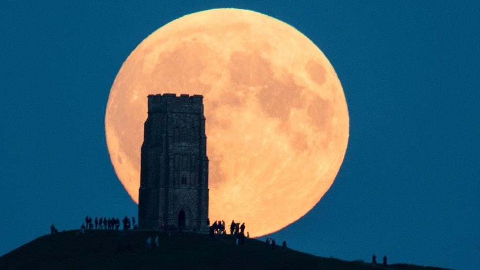 The moon over Glastonbury, United Kingdom 28 September 2015