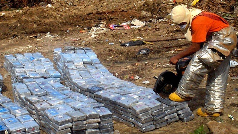 Quema de droga en Honduras.