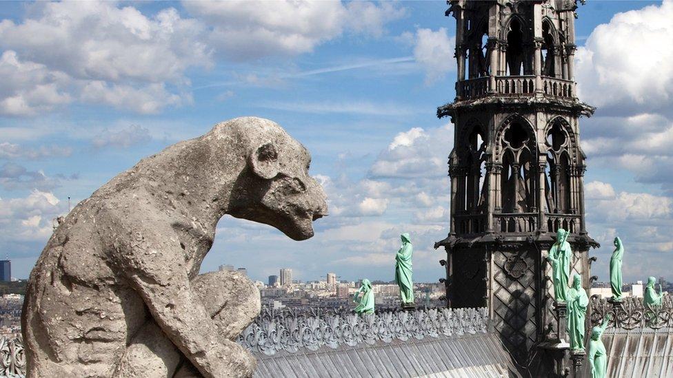 Gárgola y aguja de Notre Dame