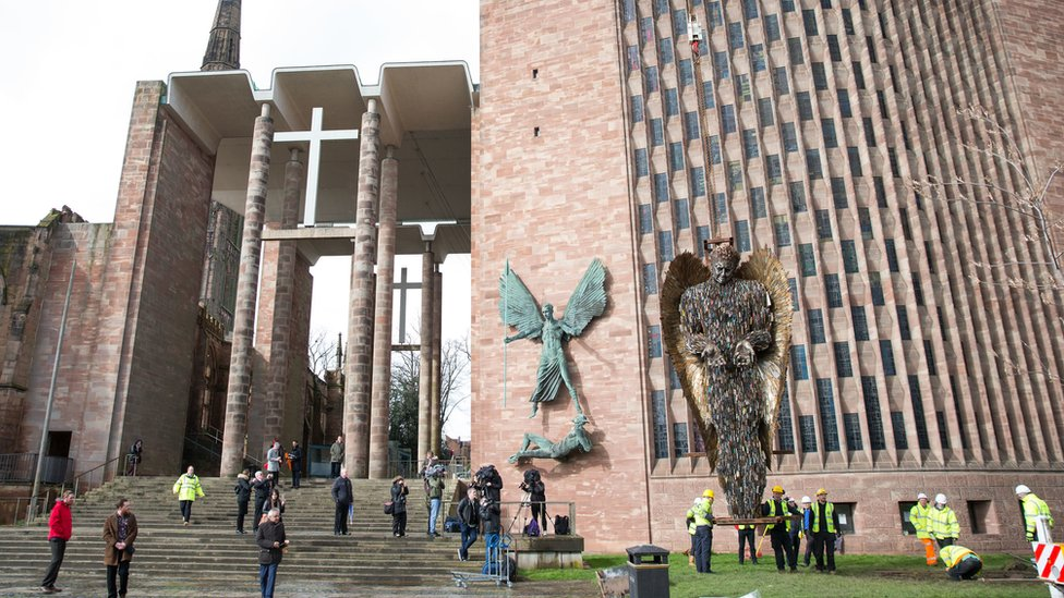 Knife Angel sculpture, made of 100,000 confiscated knives, is installed at Coventry Cathedral