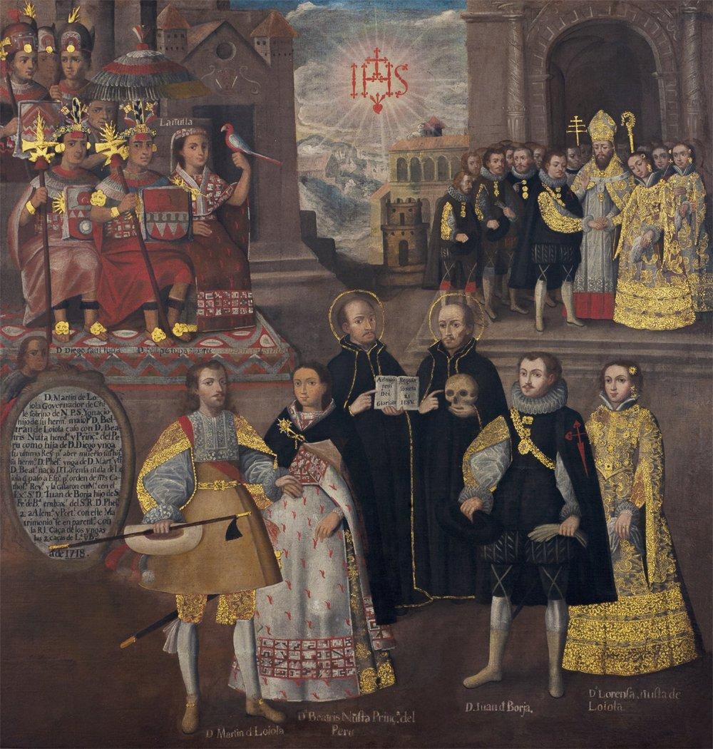"""Cuadro """"Matrimonios de Martín de Loyola con Beatriz Ñusta y de Juan de Borja con Lorenza Ñusta de Loyola"""","""
