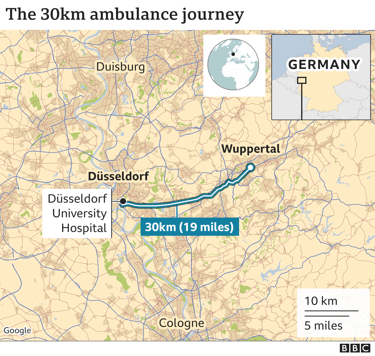A map shows the distance from Dusseldorf to Wuppertal in Germany