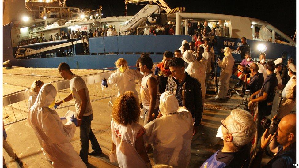 Migrants disembark in Palermo, Sicily, 27 August 2015