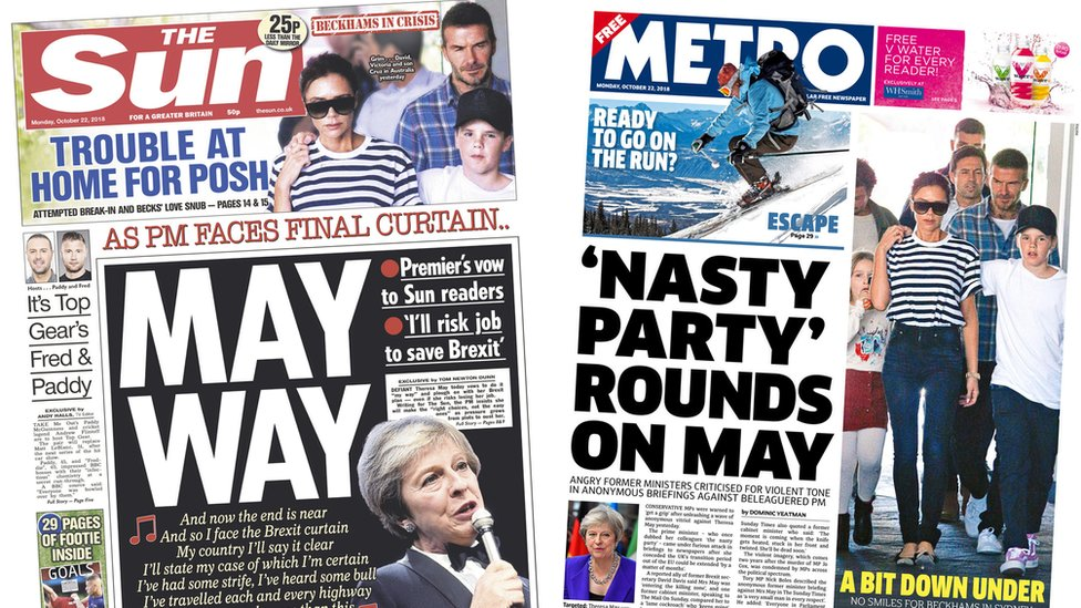 The Papers: Brexit revolt warning and Beckhams' break-in scare