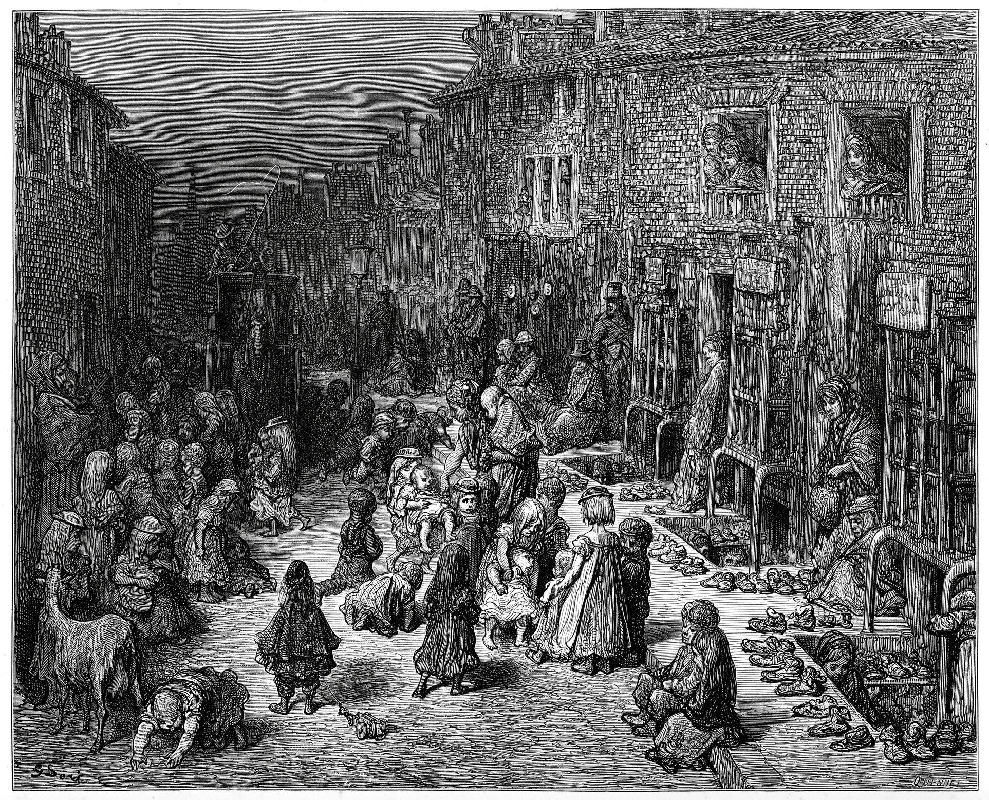 Niños en la calle en Inglaterra en el siglo XIX