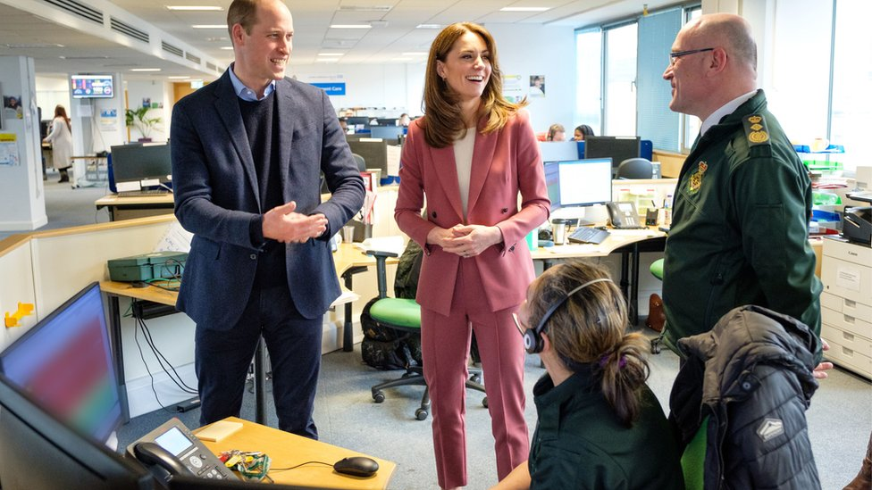 Duke of Cambridge talking with staff during a visit to the London Ambulance Service 111 control room in Croydon on Thursday to meet ambulance staff and 111 call handlerswho have been taking NHS 111 calls from the public