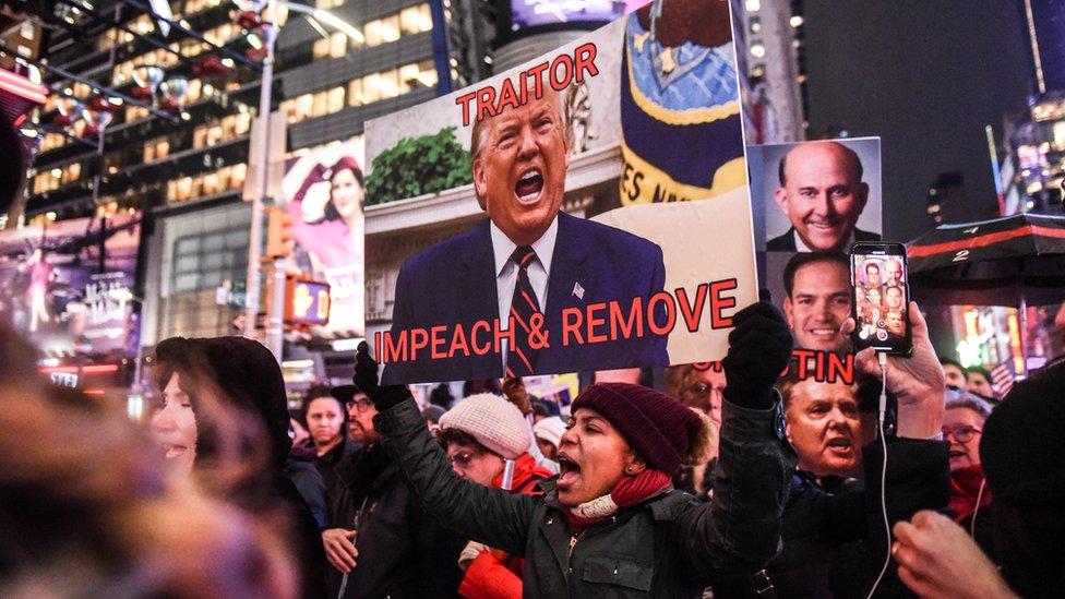 Una protesta contra Trump en diciembre de 2019 en Nueva York.