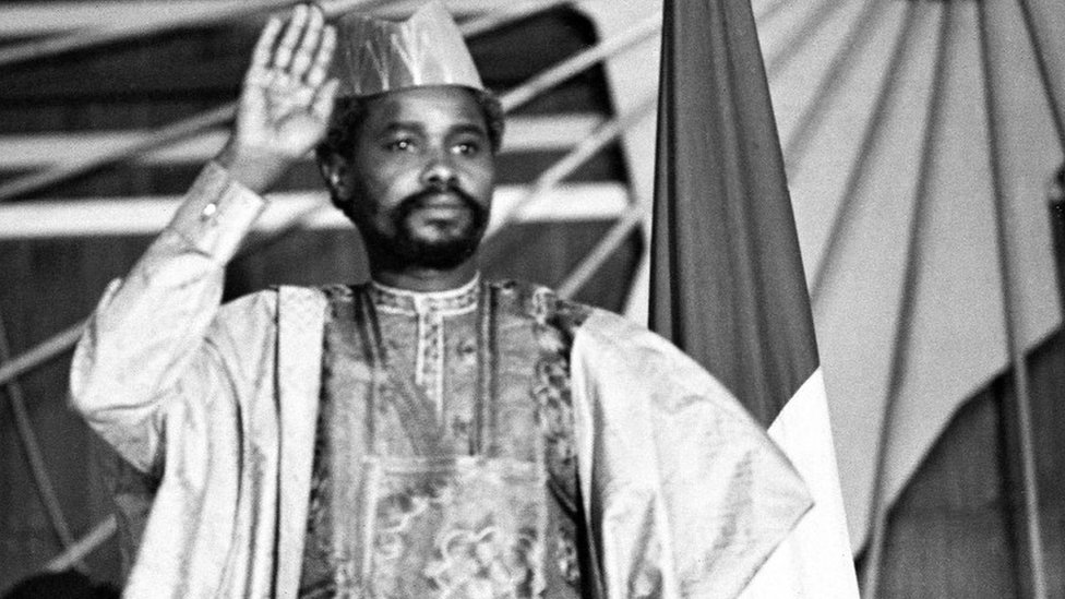 """A picture taken on August 16, 1983 shows Chad's president Hissen Habre during a press conference in N""""Djamena"""
