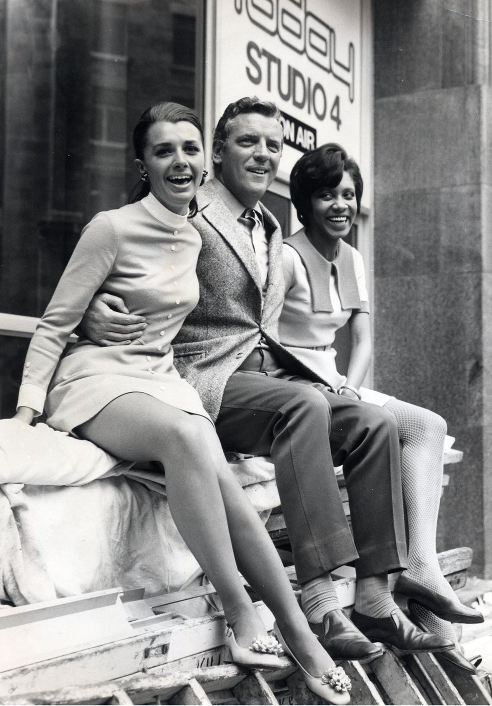 Barbara Blake Hannah (right) with Eamonn Andrews and fellow reporter Jane Probyn