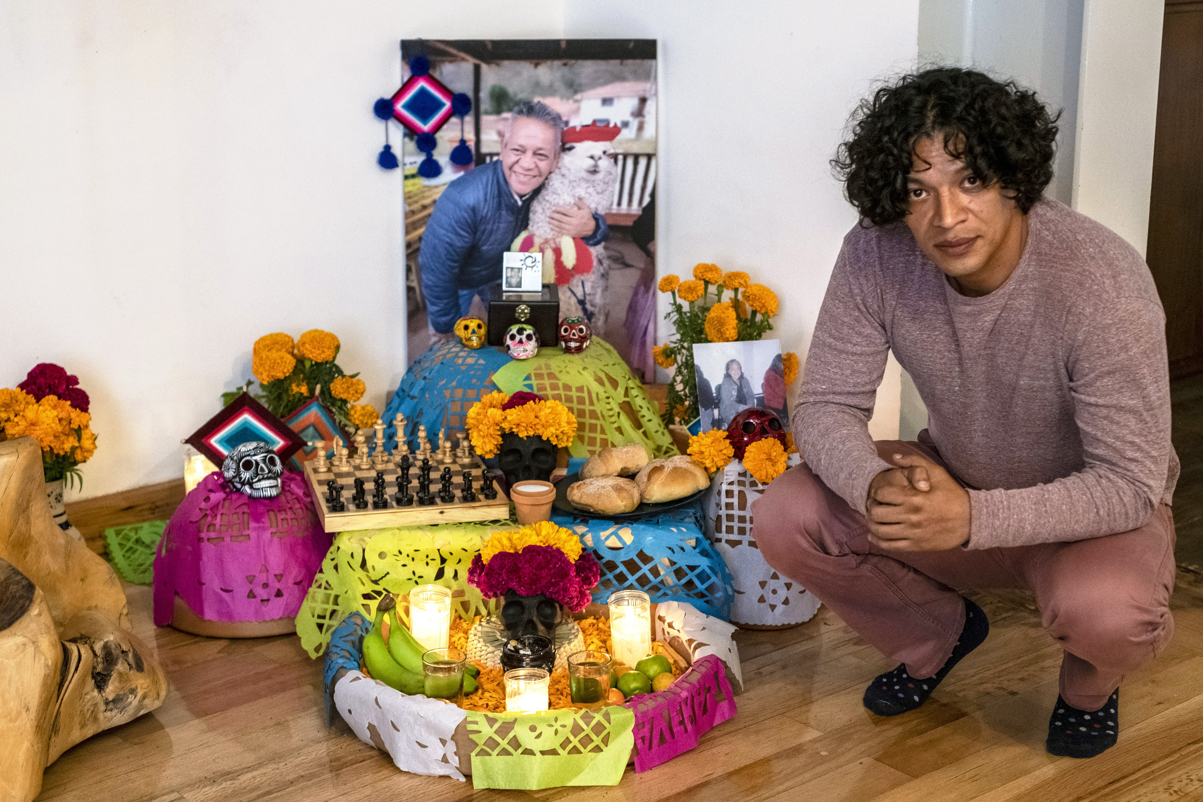 Luis Salas has made an altar in honour of his father Jose Javier Alfredo Salas Aguilar, who died of COVID in August