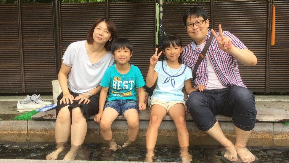 Yumiko Suzuki y su familia