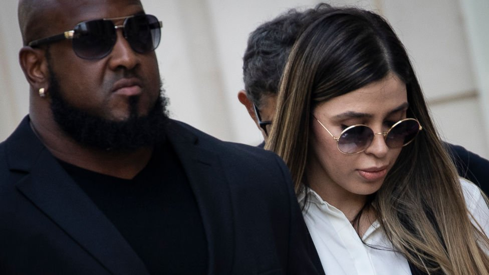 Emma Coronel Aispuro leaves court in New York on 12 February 2019