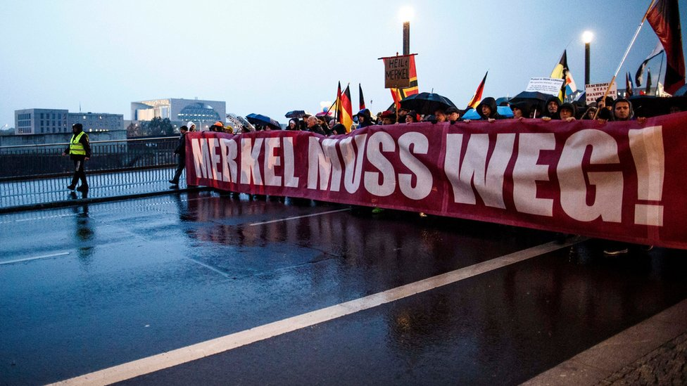 Right-wing activists marching near the Chancellory through the city centre on 5 November 2016 in Berlin, Germany.