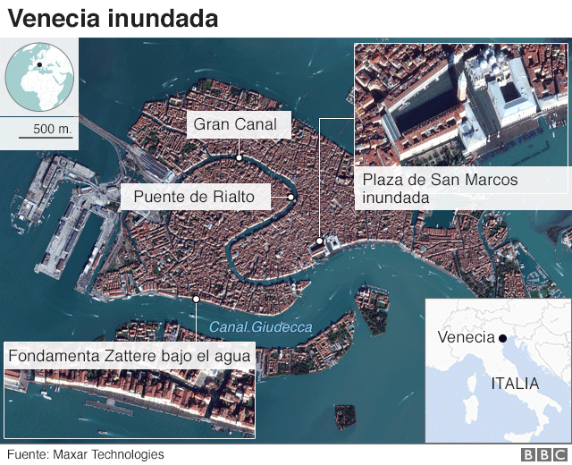 Mapa inundaciones en Venecia