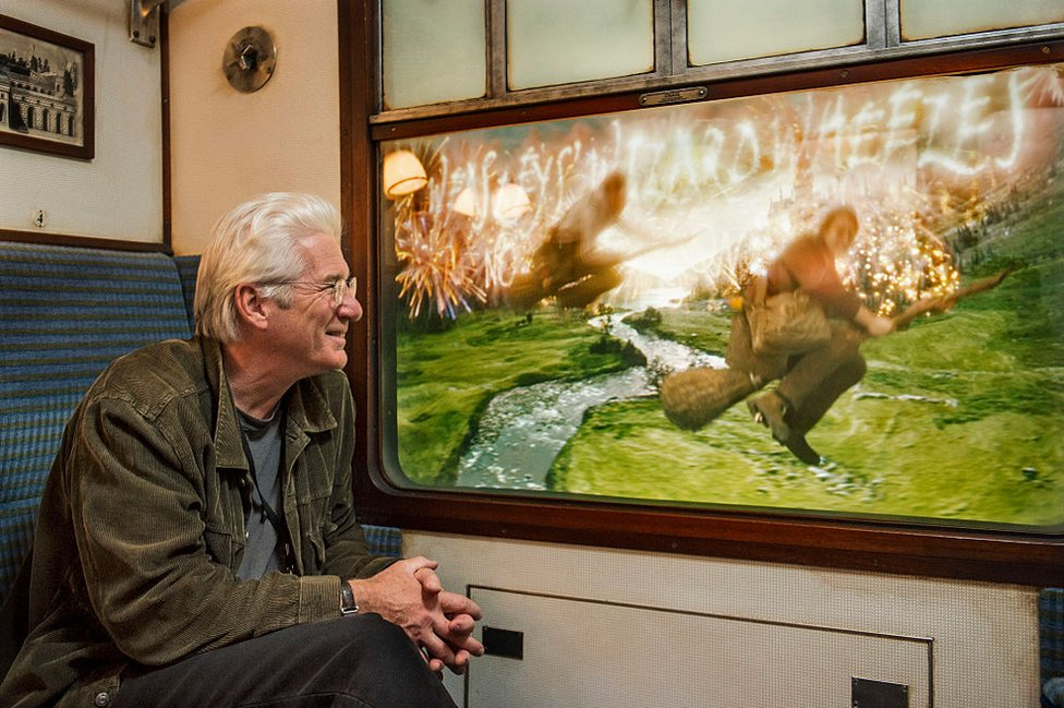 Actor Richard Gere on board the Hogwarts Express