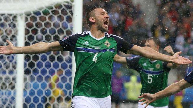 Gareth McAuley celebrates his goal against Ukraine