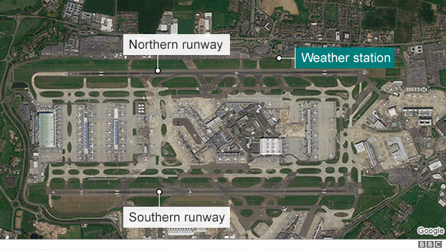 A satellite image of Heathrow airport
