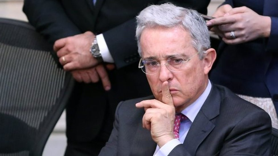 Former Colombian President and current senator Alvaro Uribe gestures during a plenary session of the Colombian Senate in Bogota, Colombia, 03 October 2016.