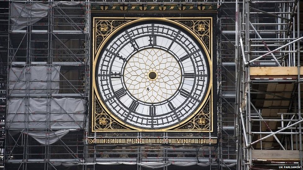 The Big Ben clock without its hands