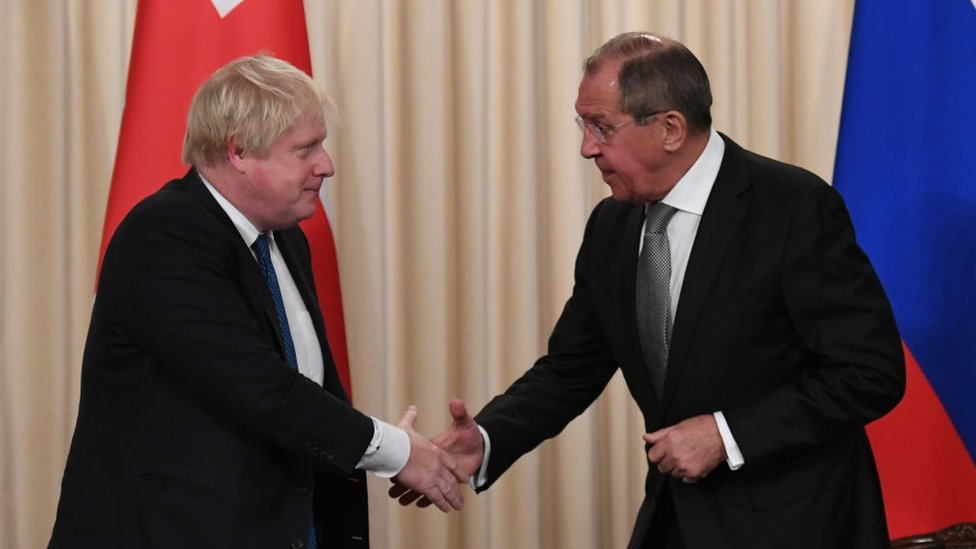 Boris Johnson and Russian counterpart Sergei Lavrov