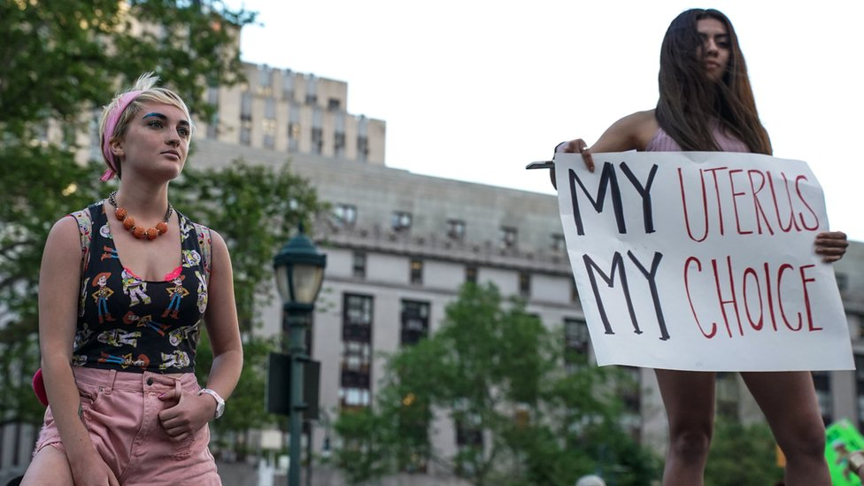 Abortion rights campaigners in New York City, 21 May
