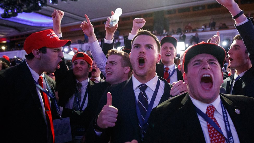 Supporters of President-elect Donald Trump cheer during as they watch election returns during an election night rallyi n New York,