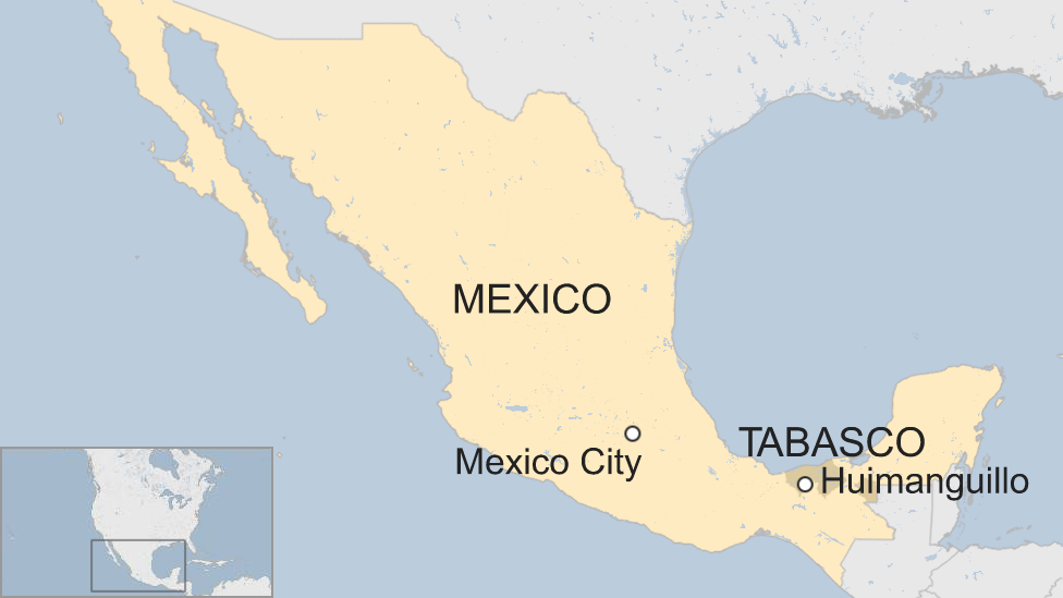 Map of Huimanguillo and Tabasco state in Mexico