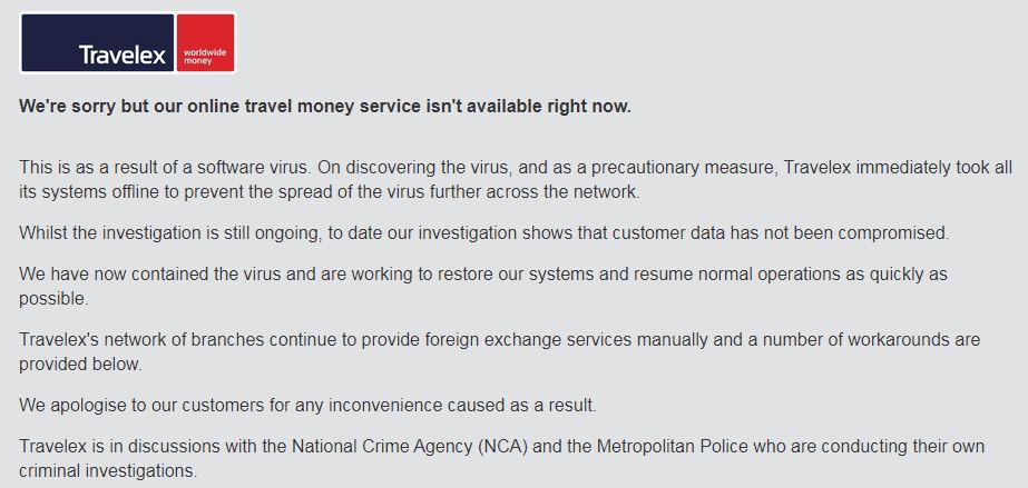 Error message on the Travelex site