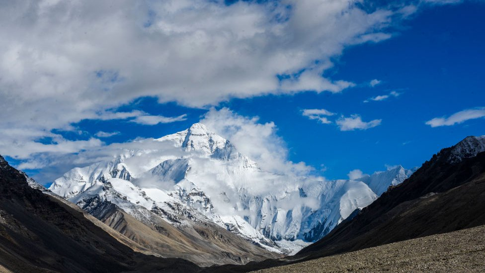 Mount Everest as seen from the Chinese side. Image credits - Getty images