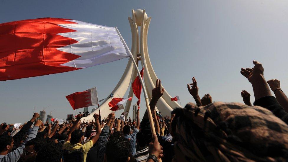 جانب من احتجاجات دوار اللؤلؤة بالمنامة في شباط/فبراير 2011