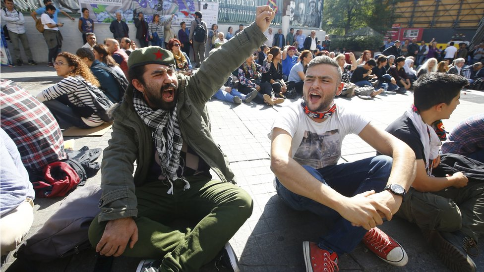 A sit-down protest against the explosions in Ankara, Turkey, Saturday 10 October 2015