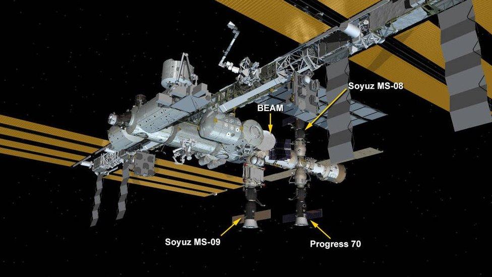 Ilustración de los diferentes componentes de la Estación Espacial Internacional