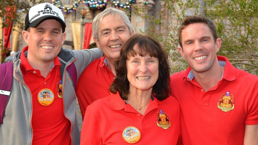 With sons Philip and James in Disneyland LA