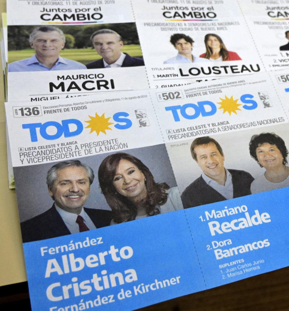 Las boletas electorales de Juntos por el Cambio y el Frente de Todos