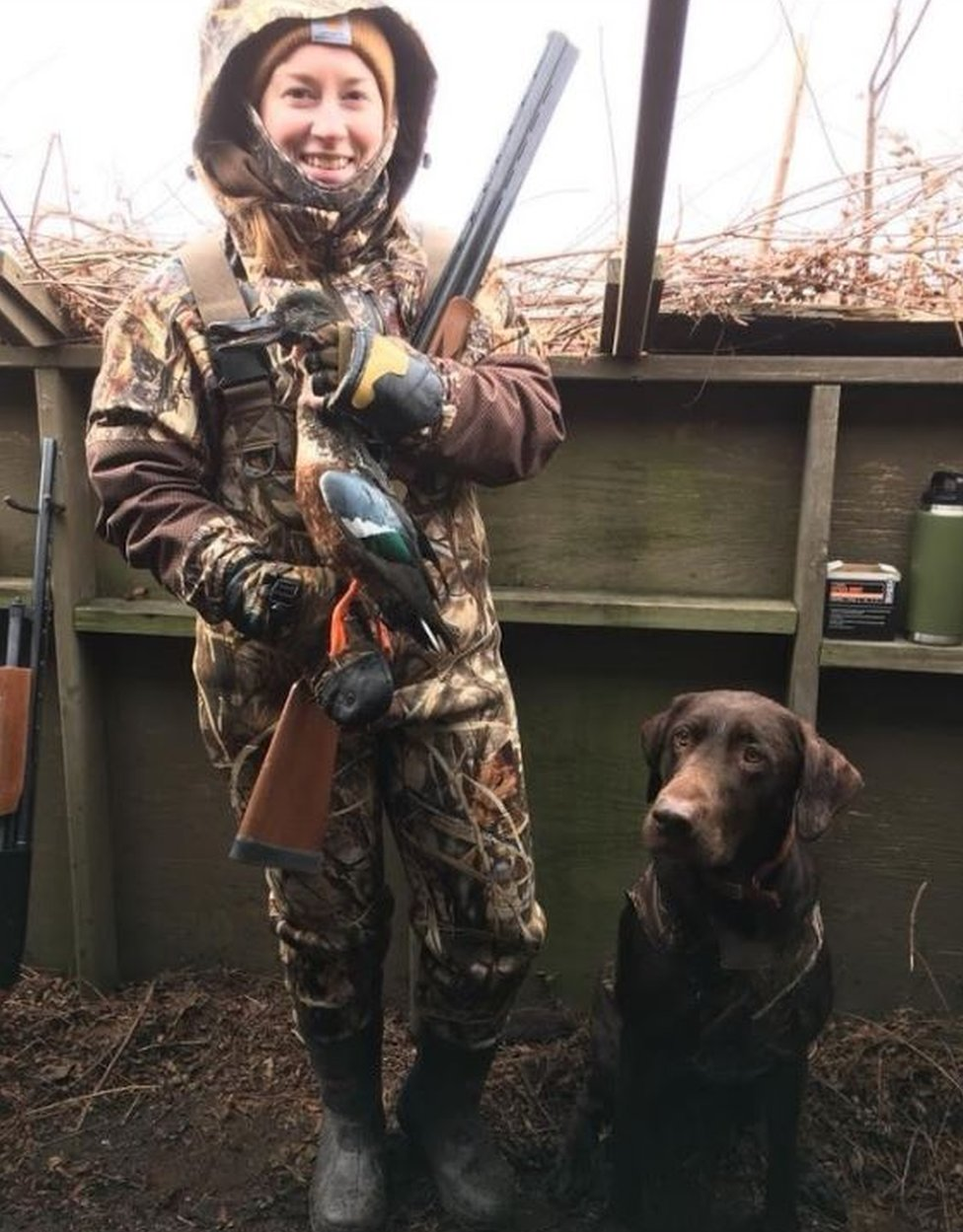 Samantha Pedder with a duck that she shot