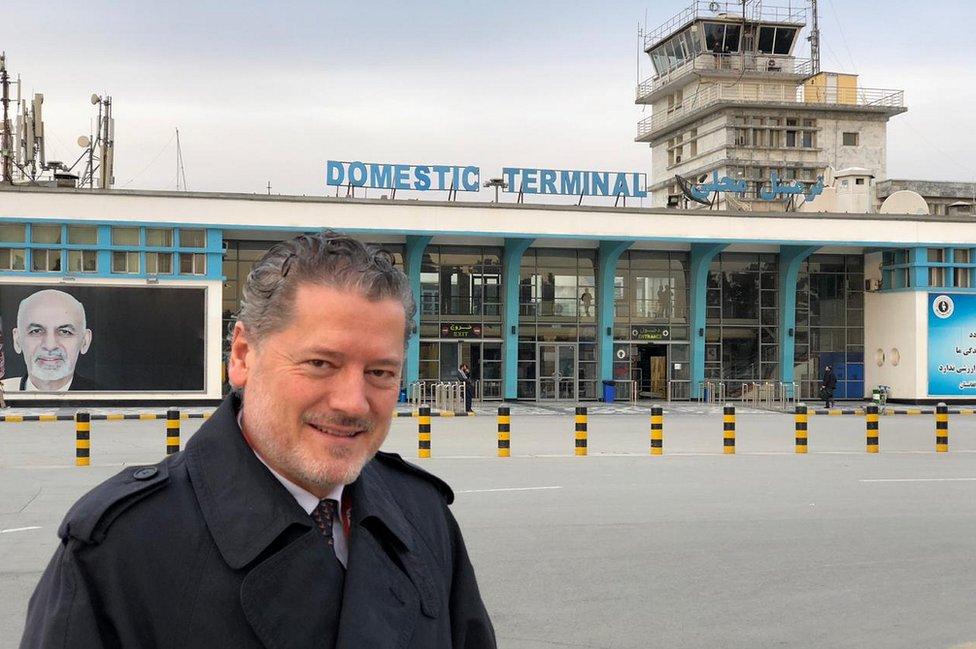 Pilots Vasileios Vasileiou pictured outside the domestic terminal at Hamid Karzai International Airport
