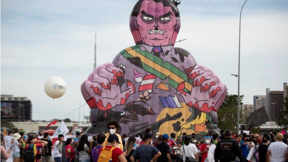 Una protesta contra Jair Bolsonaro en Brasilia, Brasil, 29 de mayo de 2021