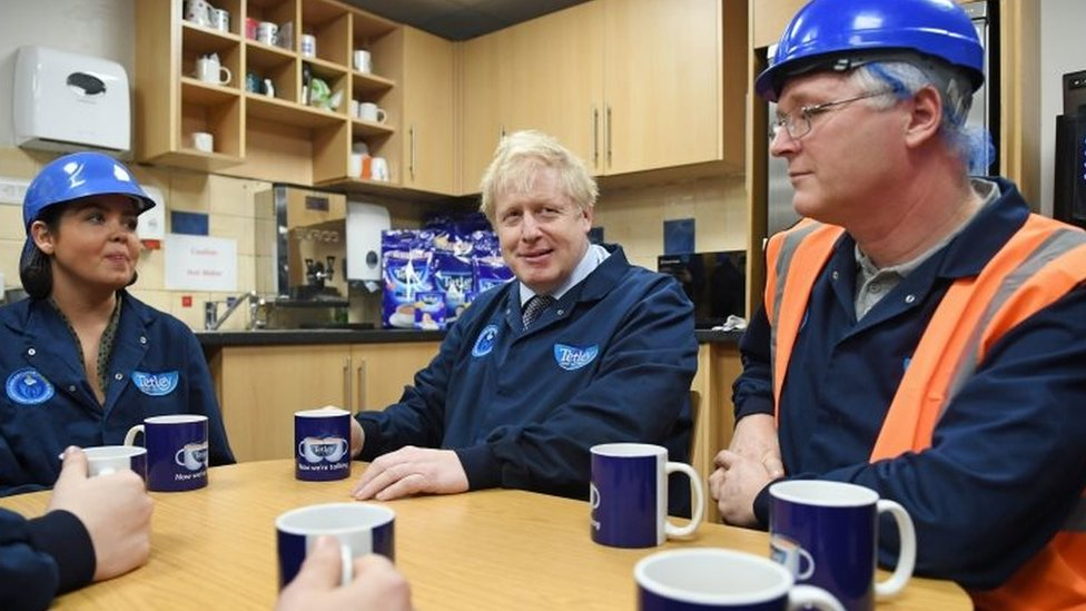Boris Johnson visits a factory