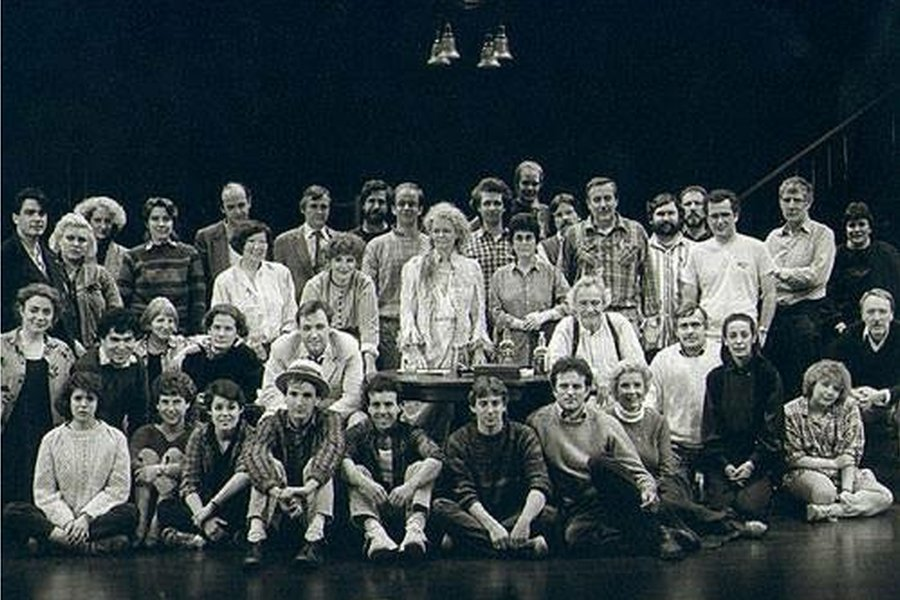 Kate Edwards (second left, back row) with the cast and crew of Long Day's Journey Into Night, starring Kevin Spacey in 1986