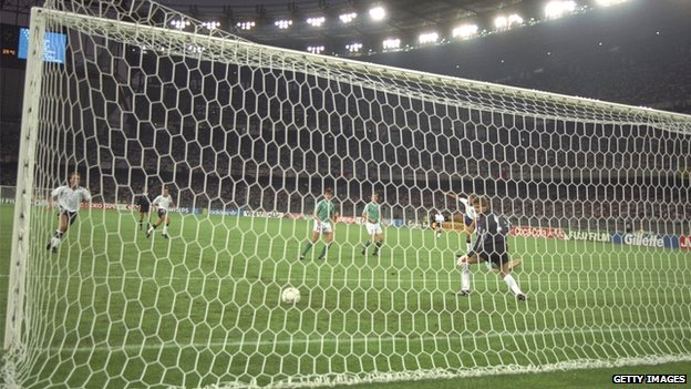 Gary Lineker scores for England against West Germany