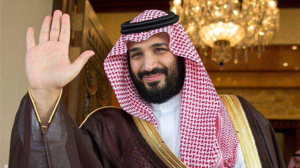 Saudi Deputy Crown Prince Mohammed bin Salman waves as he meets with Philippine President Rodrigo Duterte in Riyadh, Saudi Arabia, April 11, 201