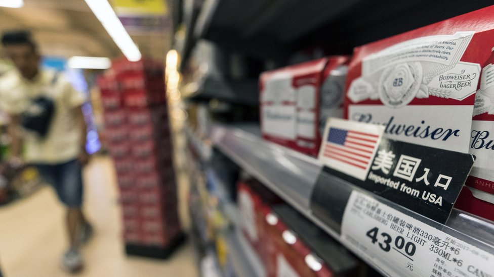 Cerveza estadounidense exportada a China.