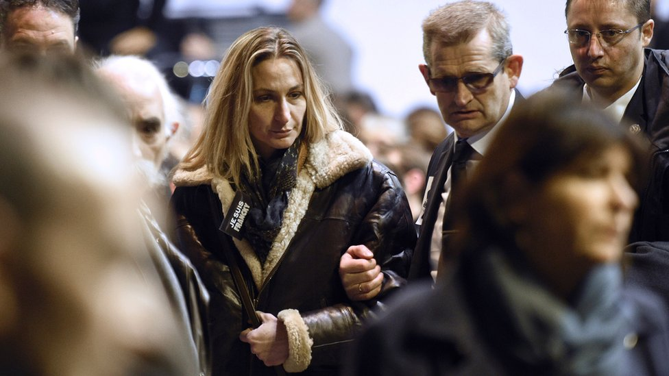 Ingrid Brinsolaro, the widow of Franck Brinsolaro, attends the funeral ceremony of Charlie Hebdo editor 'Charb', on 16 January 2015