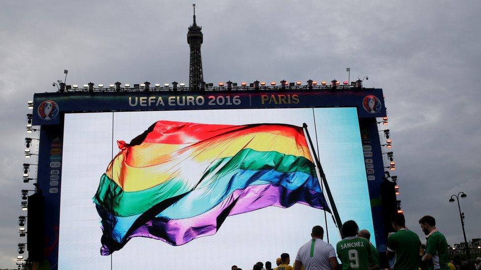 An LGBT flag in Paris during Euro 2016