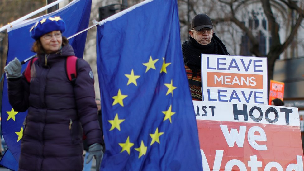 Anti-Brexit activists (L) and a pro-Brexit activist (R), hold placards and flags as they demonstrate near the Houses of Parliament