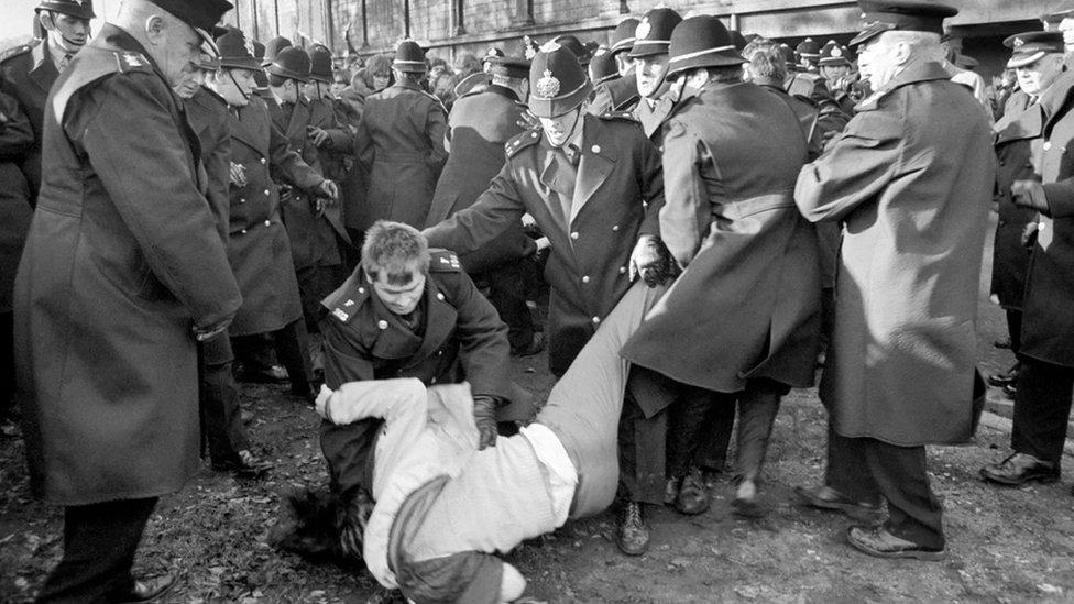 police arrest demonstrator