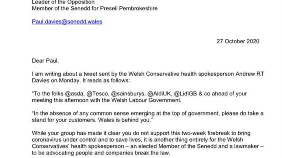 Welsh Government letter
