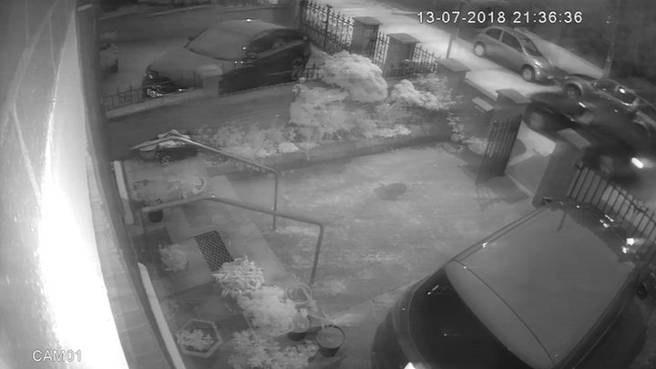 CCTV footage shows attack on Adams home from moving car